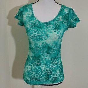 Rue 21 Green Lace Shirt Size Medium